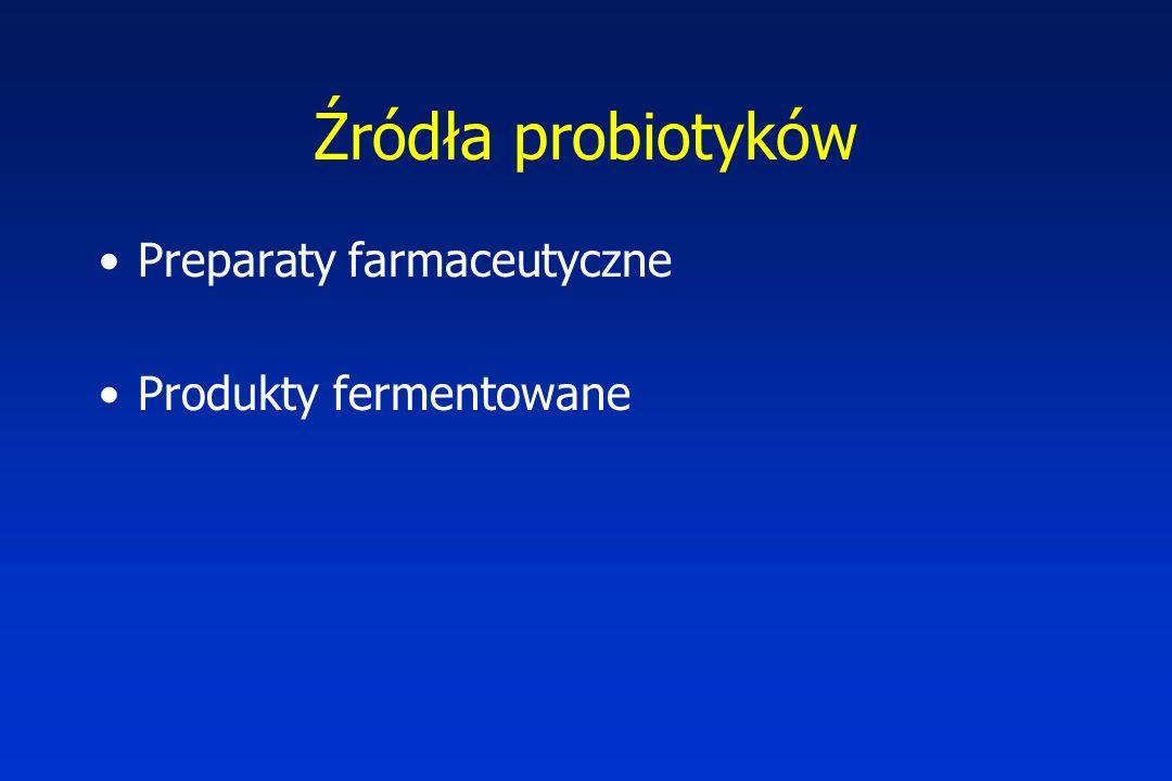 Źródła probiotyków Preparaty farmaceutyczne Produkty fermentowane