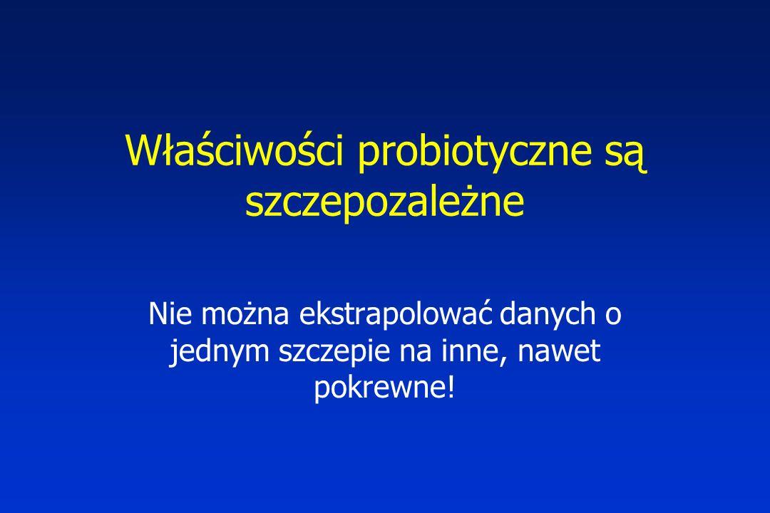 Właściwości probiotyczne są szczepozależne Nie można ekstrapolować danych o jednym szczepie na inne, nawet pokrewne!