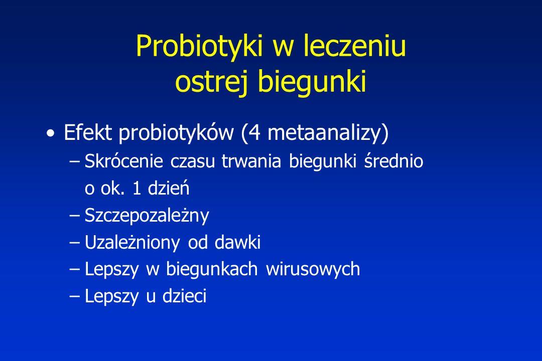Probiotyki w leczeniu ostrej biegunki Efekt probiotyków (4 metaanalizy) –Skrócenie czasu trwania biegunki średnio o ok. 1 dzień –Szczepozależny –Uzale