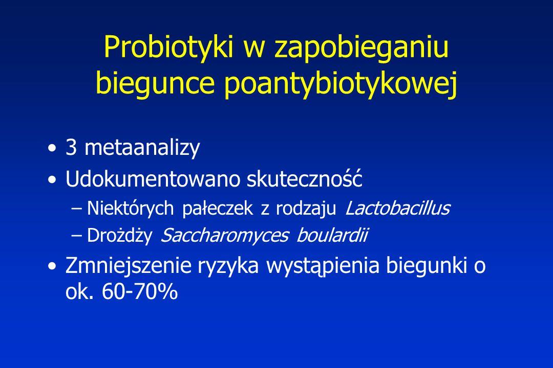Probiotyki w zapobieganiu biegunce poantybiotykowej 3 metaanalizy Udokumentowano skuteczność –Niektórych pałeczek z rodzaju Lactobacillus –Drożdży Sac