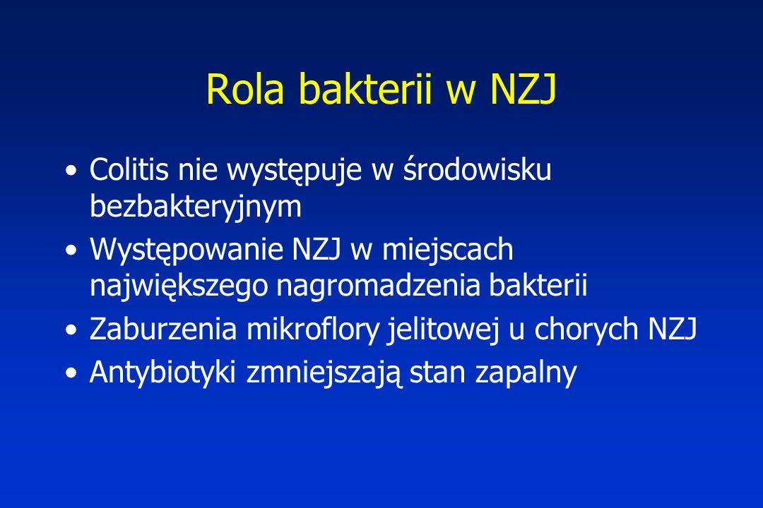 Rola bakterii w NZJ Colitis nie występuje w środowisku bezbakteryjnym Występowanie NZJ w miejscach największego nagromadzenia bakterii Zaburzenia mikr
