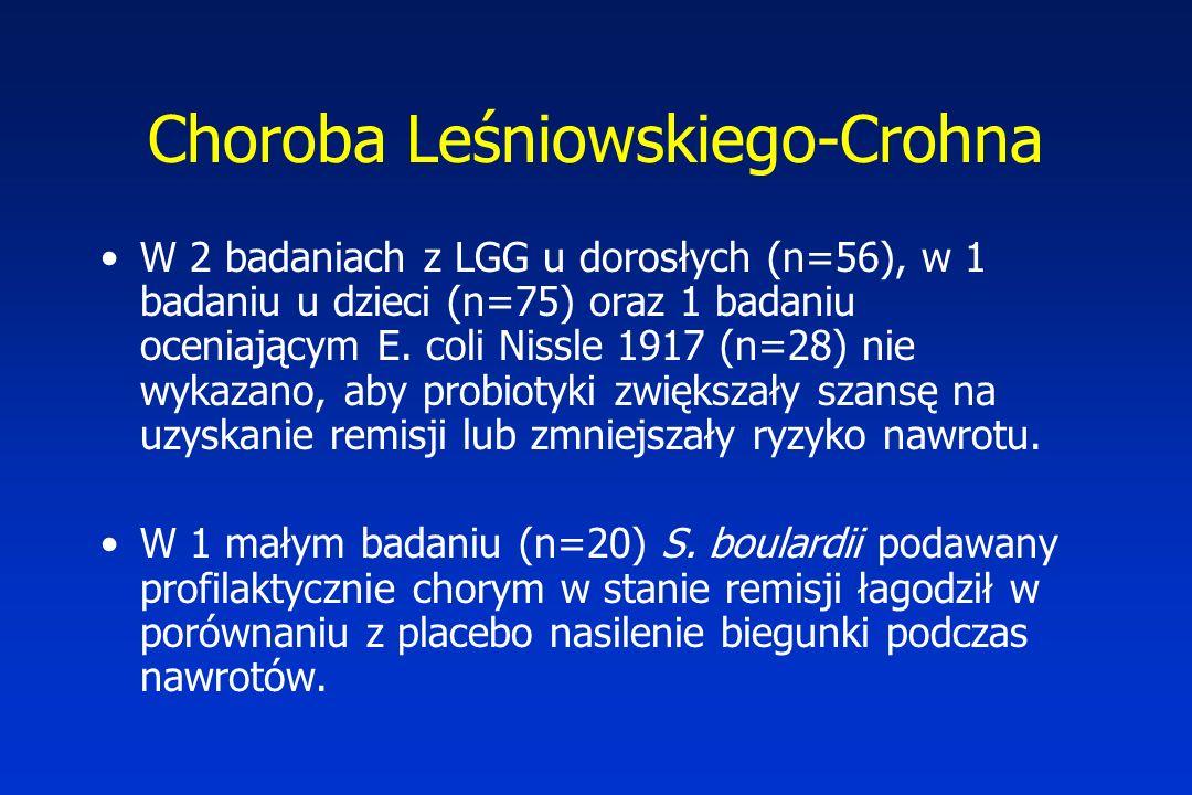 Choroba Leśniowskiego-Crohna W 2 badaniach z LGG u dorosłych (n=56), w 1 badaniu u dzieci (n=75) oraz 1 badaniu oceniającym E. coli Nissle 1917 (n=28)
