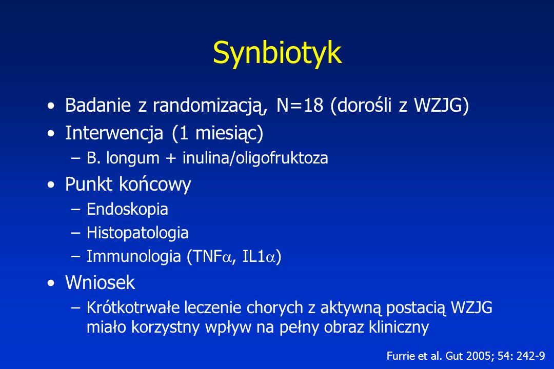 Synbiotyk Badanie z randomizacją, N=18 (dorośli z WZJG) Interwencja (1 miesiąc) –B. longum + inulina/oligofruktoza Punkt końcowy –Endoskopia –Histopat
