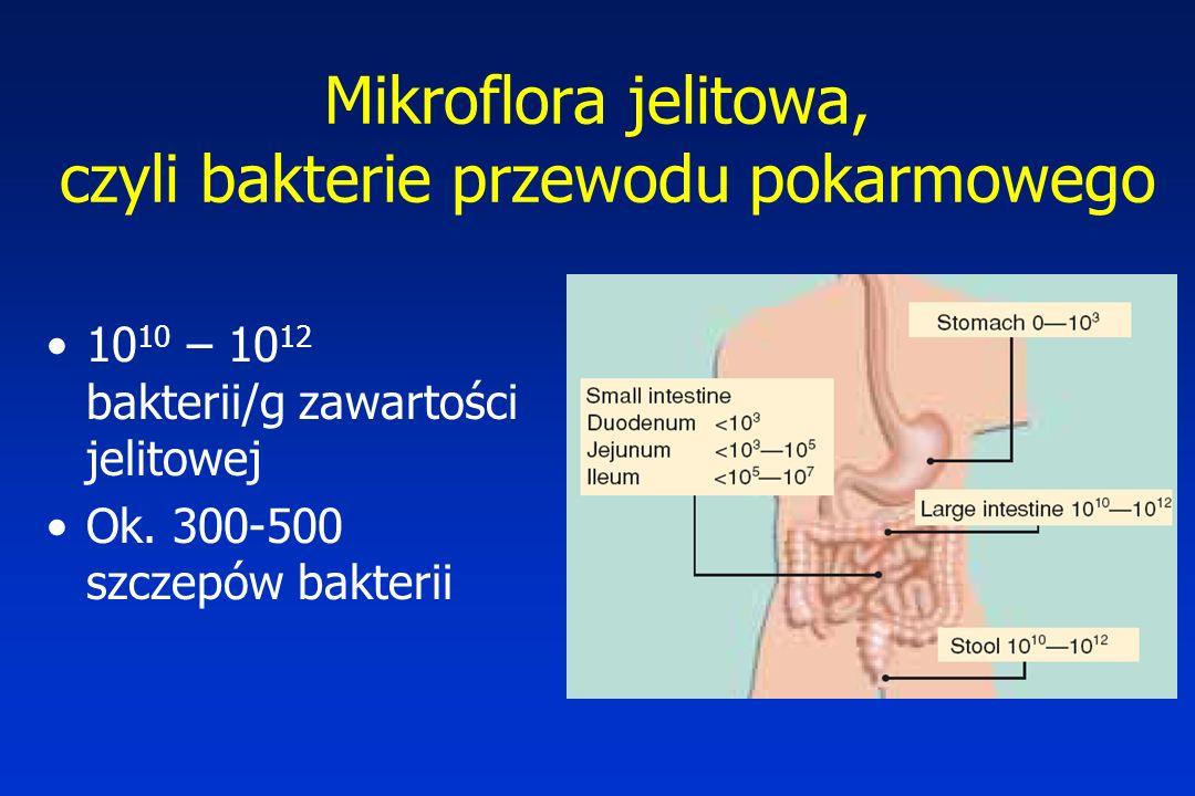 10 10 – 10 12 bakterii/g zawartości jelitowej Ok. 300-500 szczepów bakterii Mikroflora jelitowa, czyli bakterie przewodu pokarmowego