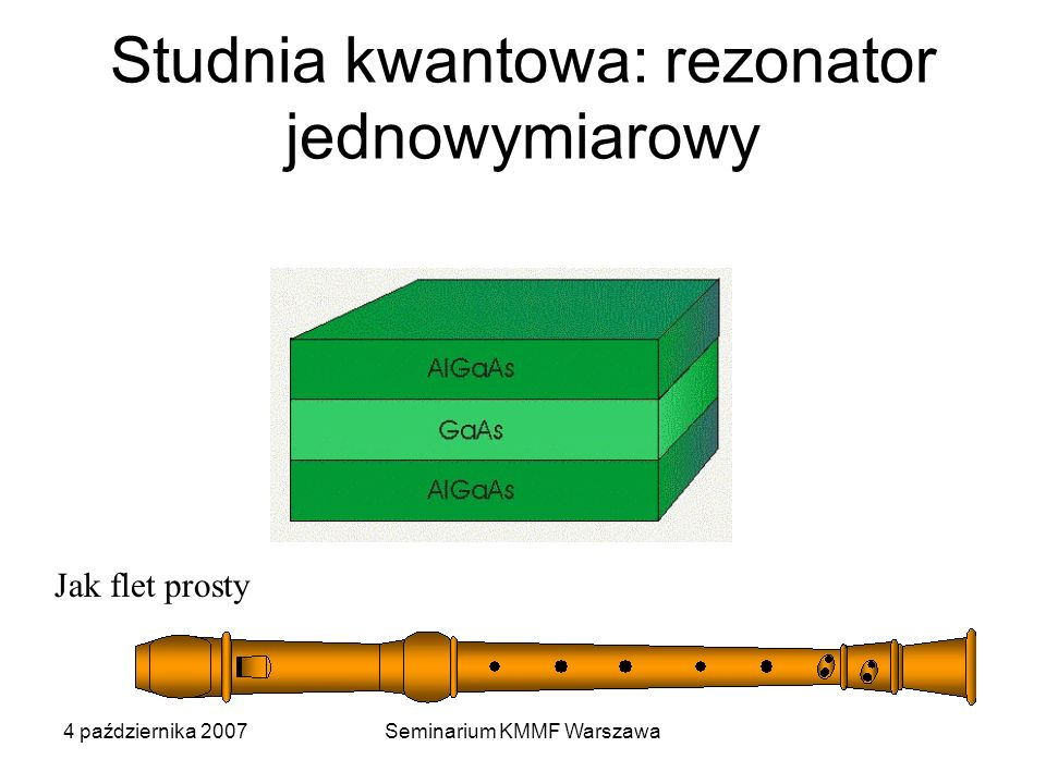 4 października 2007Seminarium KMMF Warszawa Studnia kwantowa: rezonator jednowymiarowy Jak flet prosty