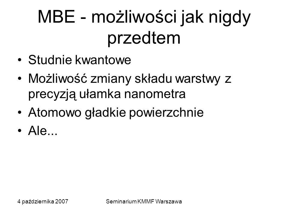 4 października 2007Seminarium KMMF Warszawa MBE - możliwości jak nigdy przedtem Studnie kwantowe Możliwość zmiany składu warstwy z precyzją ułamka nan