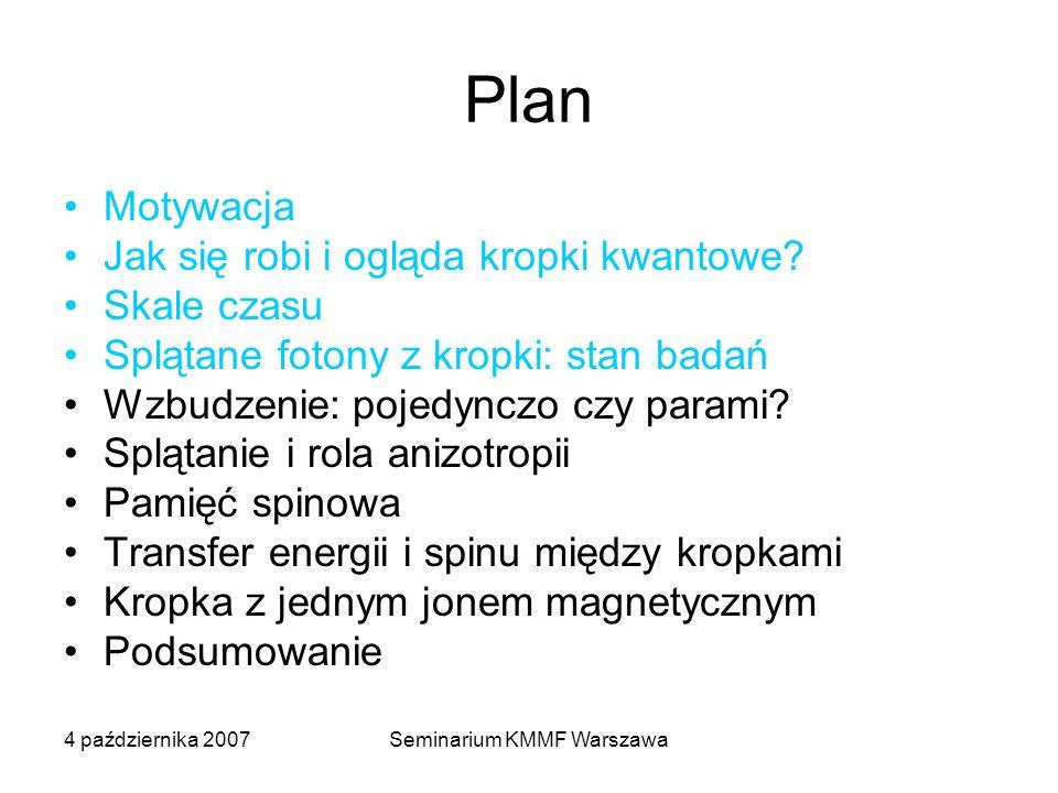 4 października 2007Seminarium KMMF Warszawa Plan Motywacja Jak się robi i ogląda kropki kwantowe? Skale czasu Splątane fotony z kropki: stan badań Wzb