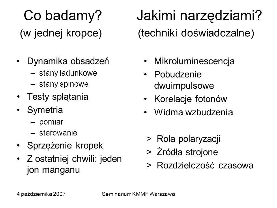 4 października 2007Seminarium KMMF Warszawa Co badamy? Jakimi narzędziami? (w jednej kropce) (techniki doświadczalne) Dynamika obsadzeń –stany ładunko