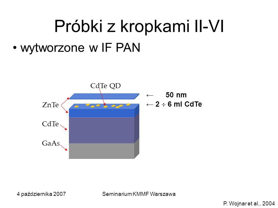 4 października 2007Seminarium KMMF Warszawa GaAs CdTe ZnTe CdTe QD Próbki z kropkami II-VI wytworzone w IF PAN 50 nm 2 6 ml CdTe P. Wojnar et al., 200