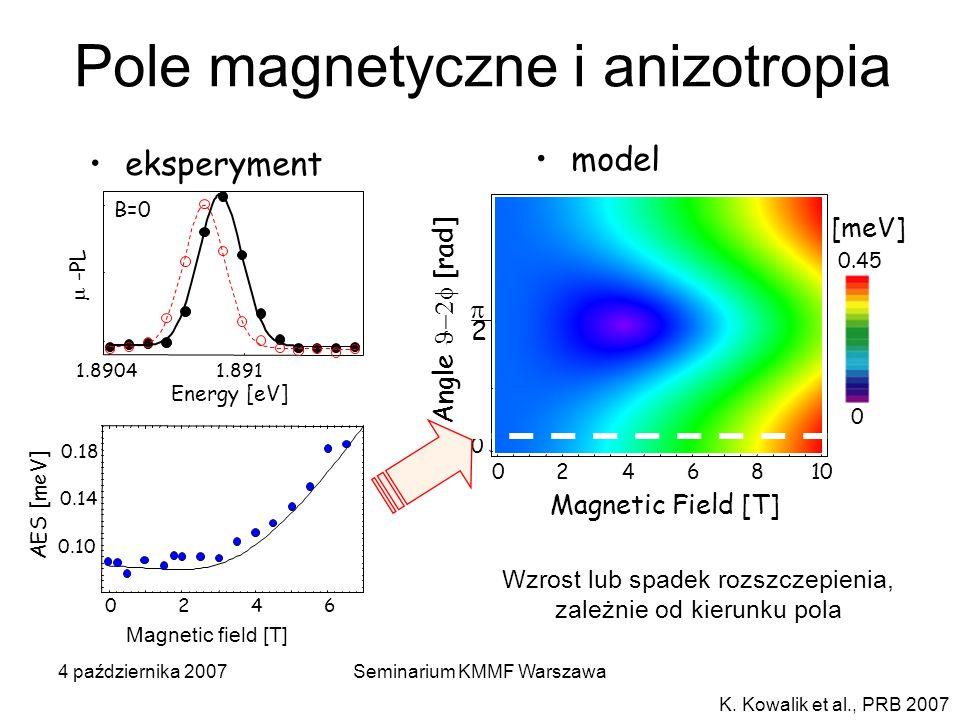 4 października 2007Seminarium KMMF Warszawa 0246810 Magnetic Field [T] [meV] 0 0.45 0 2 Angle [rad] model K. Kowalik et al., PRB 2007 Wzrost lub spade