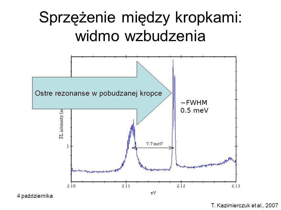 4 października 2007Seminarium KMMF Warszawa Sprzężenie między kropkami: widmo wzbudzenia T. Kazimierczuk et al., 2007 Ostre rezonanse w pobudzanej kro