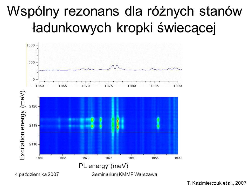 4 października 2007Seminarium KMMF Warszawa T. Kazimierczuk et al., 2007 Wspólny rezonans dla różnych stanów ładunkowych kropki świecącej PL energy (m