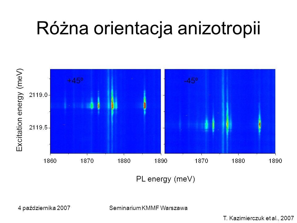4 października 2007Seminarium KMMF Warszawa Różna orientacja anizotropii T. Kazimierczuk et al., 2007 PL energy (meV) Excitation energy (meV) +45º-45º