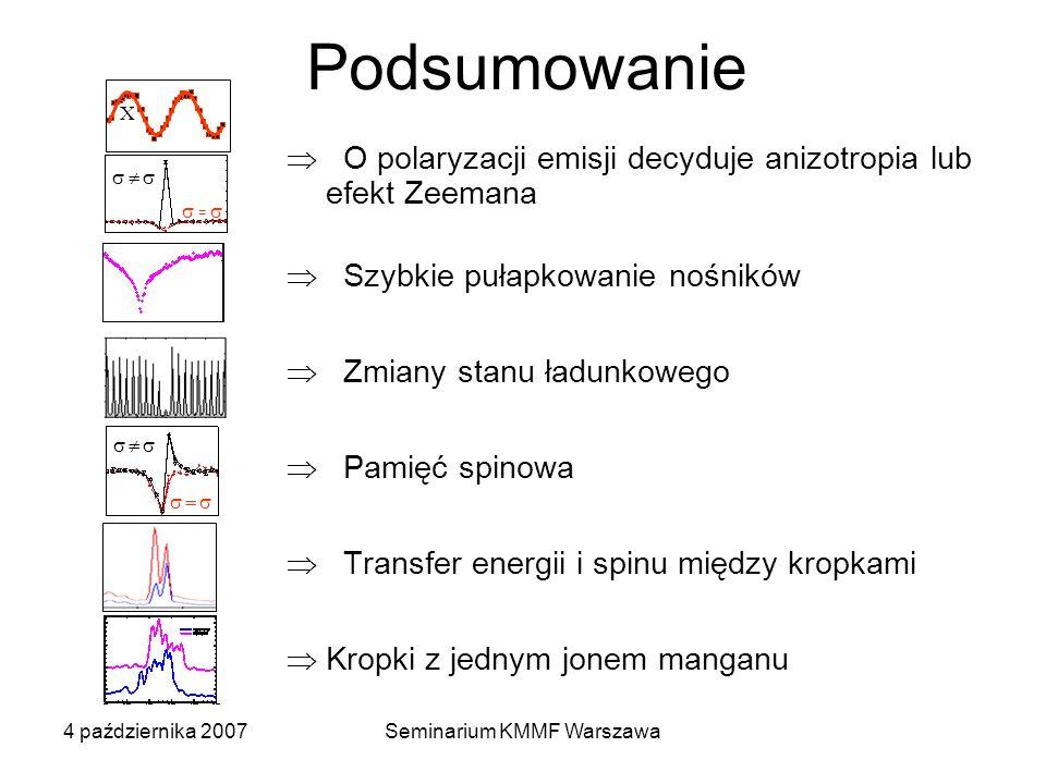4 października 2007Seminarium KMMF Warszawa Podsumowanie X = O polaryzacji emisji decyduje anizotropia lub efekt Zeemana Szybkie pułapkowanie nośników Zmiany stanu ładunkowego Pamięć spinowa Transfer energii i spinu między kropkami Kropki z jednym jonem manganu