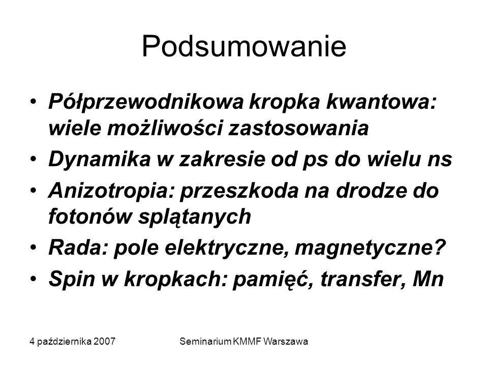 4 października 2007Seminarium KMMF Warszawa Podsumowanie Półprzewodnikowa kropka kwantowa: wiele możliwości zastosowania Dynamika w zakresie od ps do wielu ns Anizotropia: przeszkoda na drodze do fotonów splątanych Rada: pole elektryczne, magnetyczne.
