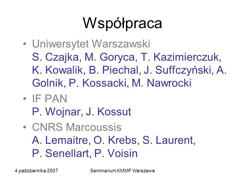 4 października 2007Seminarium KMMF Warszawa Współpraca Uniwersytet Warszawski S. Czajka, M. Goryca, T. Kazimierczuk, K. Kowalik, B. Piechal, J. Suffcz