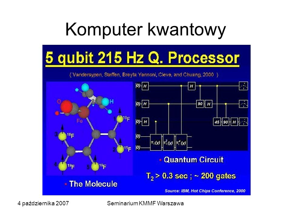 4 października 2007Seminarium KMMF Warszawa Komputer kwantowy