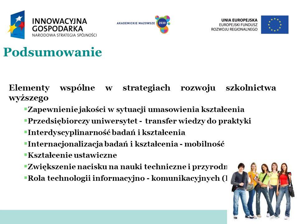 Podsumowanie Elementy wspólne w strategiach rozwoju szkolnictwa wyższego Zapewnienie jakości w sytuacji umasowienia kształcenia Przedsiębiorczy uniwer