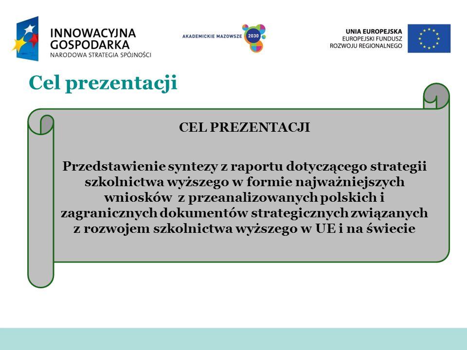 Cel prezentacji CEL PREZENTACJI Przedstawienie syntezy z raportu dotyczącego strategii szkolnictwa wyższego w formie najważniejszych wniosków z przean