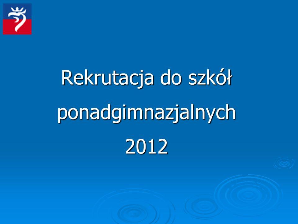 Rekrutacja do szkół ponadgimnazjalnych 2012