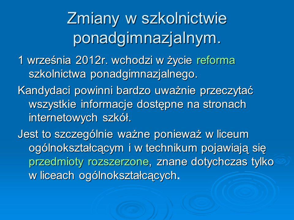 Zmiany w szkolnictwie ponadgimnazjalnym.1 września 2012r.