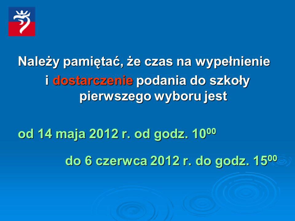 Należy pamiętać, że czas na wypełnienie i dostarczenie podania do szkoły pierwszego wyboru jest od 14 maja 2012 r.
