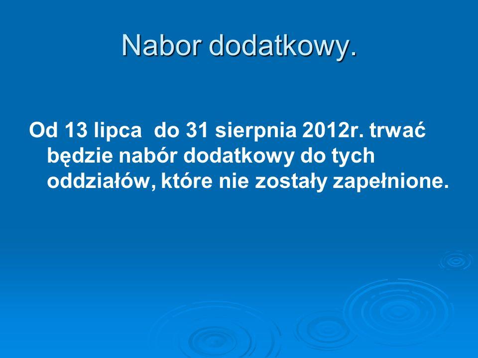 Nabor dodatkowy.Od 13 lipca do 31 sierpnia 2012r.