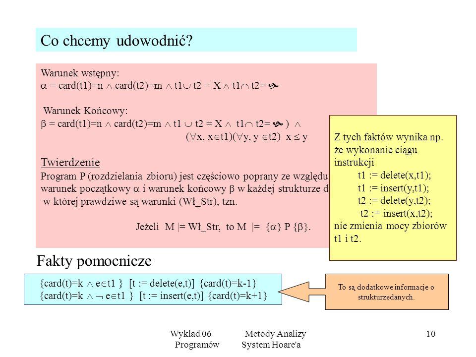Wyklad 06 Metody Analizy Programów System Hoare'a 9 Idea algorytmu zbiór t1 zbiór t2 zbiór t1 zbiór t2