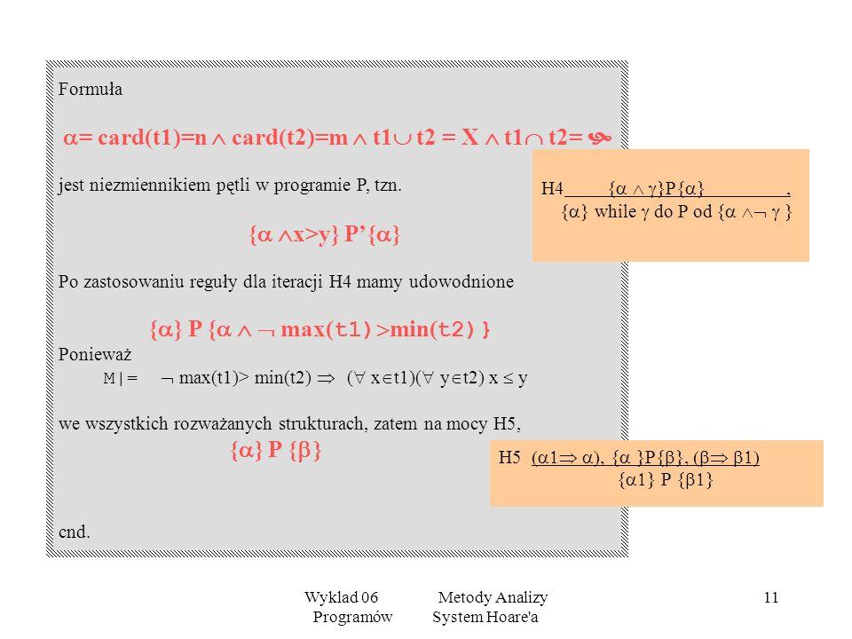 Wyklad 06 Metody Analizy Programów System Hoare'a 10 Co chcemy udowodnić? Warunek wstępny: = card(t1)=n card(t2)=m t1 t2 = X t1 t2= Warunek Końcowy: =