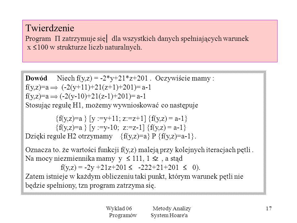 Wyklad 06 Metody Analizy Programów System Hoare'a 16 Twierdzenie Program jest częściowo poprawny ze względu na warunek początkowy x 100 i warunek końc