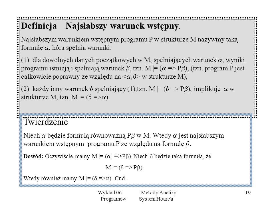 Wyklad 06 Metody Analizy Programów System Hoare'a 18 Definicja Całkowita poprawność Powiemy, że program jest całkowicie poprawny za względu na warunek
