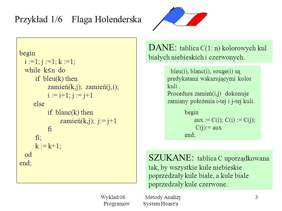Wyklad 06 Metody Analizy Programów System Hoare'a 2 Niech P1, P2, P będą programami, a - formułami. H1 { (x/t)} x:= t { (x)} H2{ }P1{ }, { } P2{ } { }