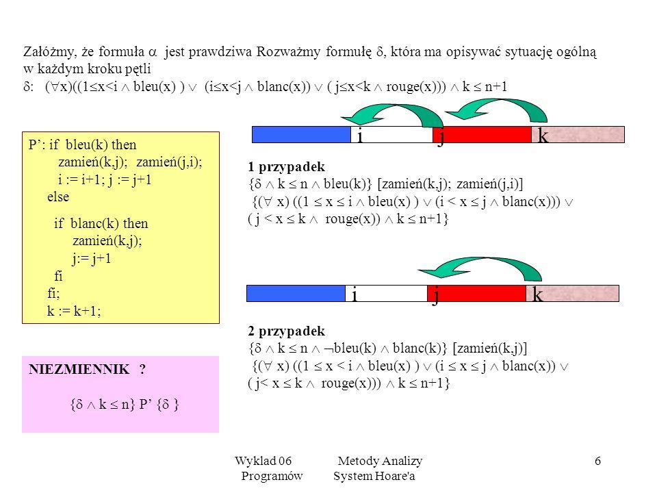 Wyklad 06 Metody Analizy Programów System Hoare'a 5 Udowodnimy, stosując reguły Hoare, że przedstawiony program jest dobrym rozwiązaniem problemu flag
