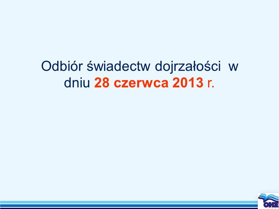 Odbiór świadectw dojrzałości w dniu 28 czerwca 2013 r.