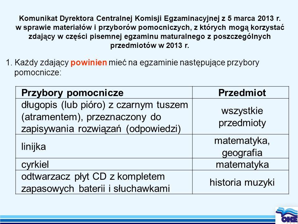Komunikat Dyrektora Centralnej Komisji Egzaminacyjnej z 5 marca 2013 r. w sprawie materiałów i przyborów pomocniczych, z których mogą korzystać zdając