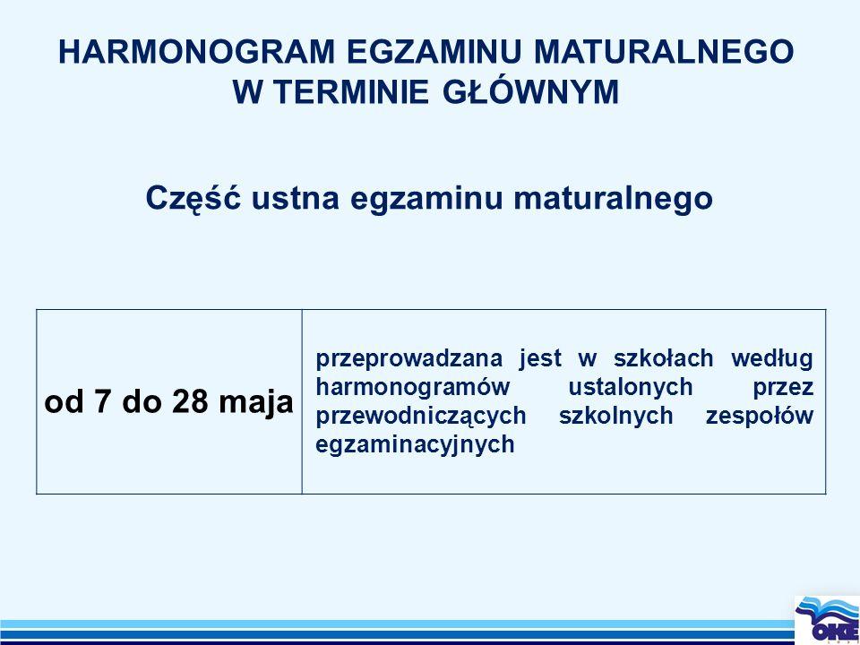od 7 do 28 maja przeprowadzana jest w szkołach według harmonogramów ustalonych przez przewodniczących szkolnych zespołów egzaminacyjnych HARMONOGRAM E