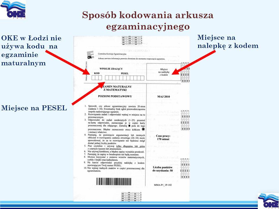 Miejsce na nalepkę z kodem Sposób kodowania arkusza egzaminacyjnego Miejsce na PESEL OKE w Łodzi nie używa kodu na egzaminie maturalnym
