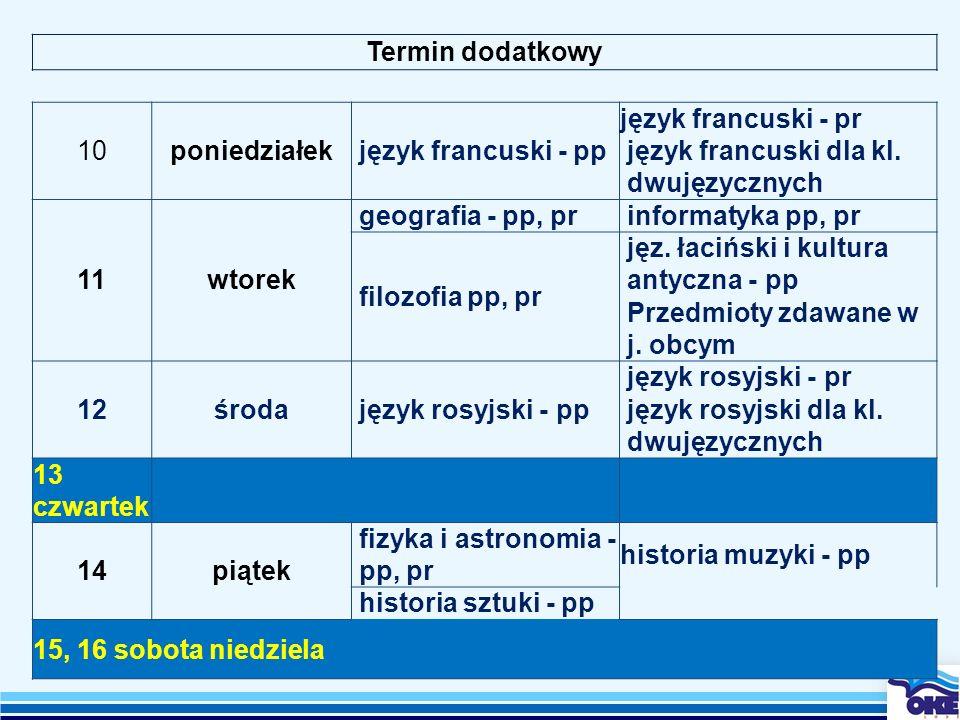 Termin dodatkowy 10poniedziałekjęzyk francuski - pp język francuski - pr język francuski dla kl. dwujęzycznych 11wtorek geografia - pp, prinformatyka