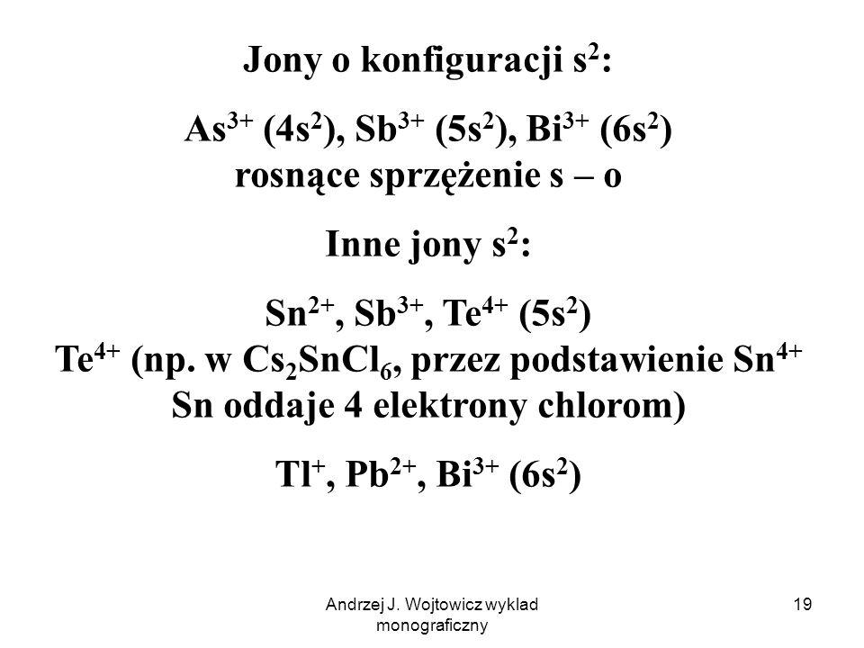Andrzej J. Wojtowicz wyklad monograficzny 19 Jony o konfiguracji s 2 : As 3+ (4s 2 ), Sb 3+ (5s 2 ), Bi 3+ (6s 2 ) rosnące sprzężenie s – o Inne jony