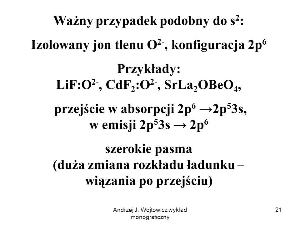 Andrzej J. Wojtowicz wyklad monograficzny 21 Ważny przypadek podobny do s 2 : Izolowany jon tlenu O 2-, konfiguracja 2p 6 Przykłady: LiF:O 2-, CdF 2 :