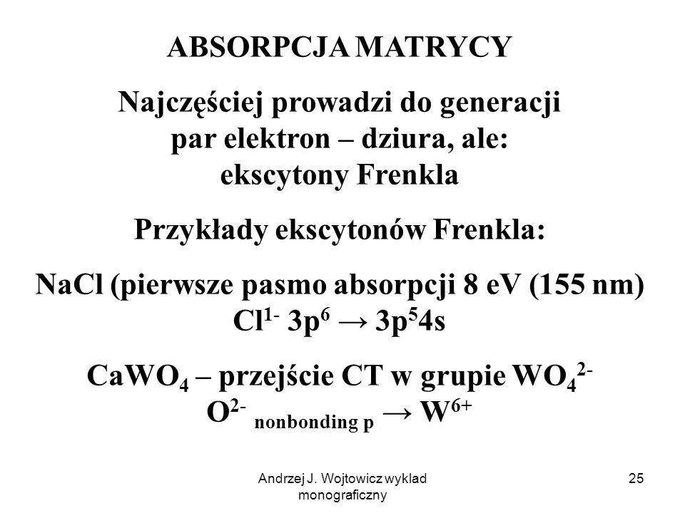 Andrzej J. Wojtowicz wyklad monograficzny 25 ABSORPCJA MATRYCY Najczęściej prowadzi do generacji par elektron – dziura, ale: ekscytony Frenkla Przykła