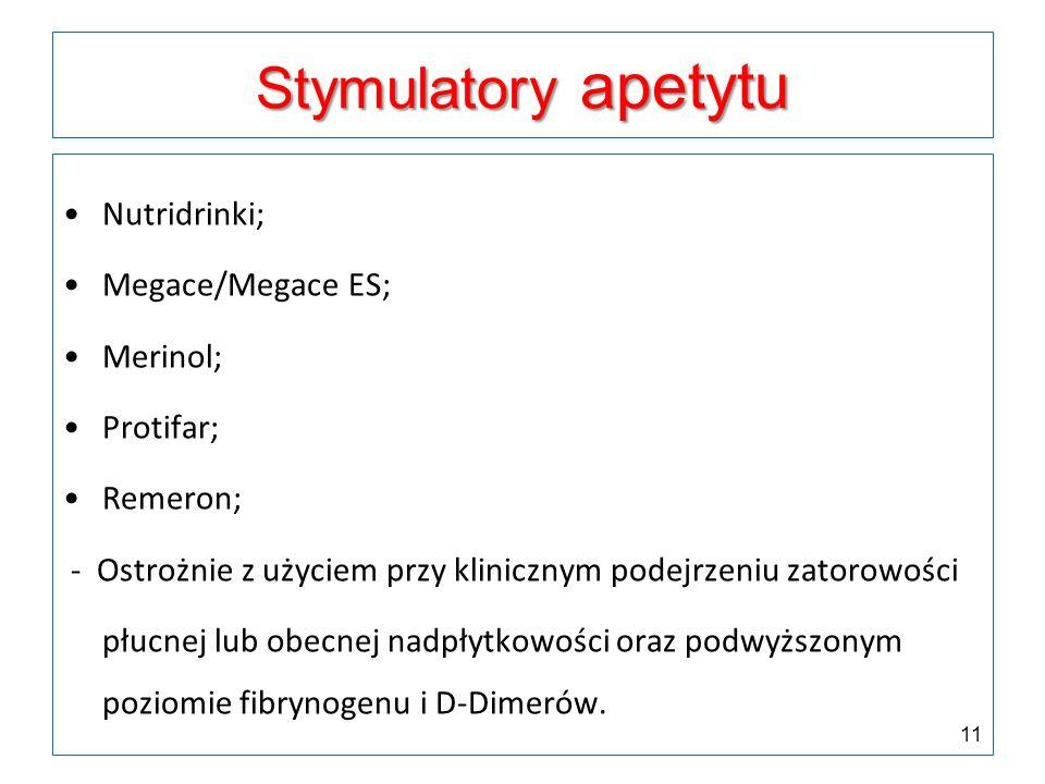 Stymulatory apetytu Nutridrinki; Megace/Megace ES; Merinol; Protifar; Remeron; - Ostrożnie z użyciem przy klinicznym podejrzeniu zatorowości płucnej l