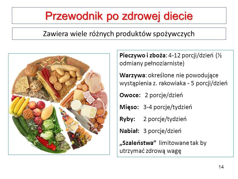 Przewodnik po zdrowej diecie Pieczywo i zboża: 4-12 porcji/dzień (½ odmiany pełnoziarniste) Warzywa: określone nie powodujące wystąpienia z. rakowiaka