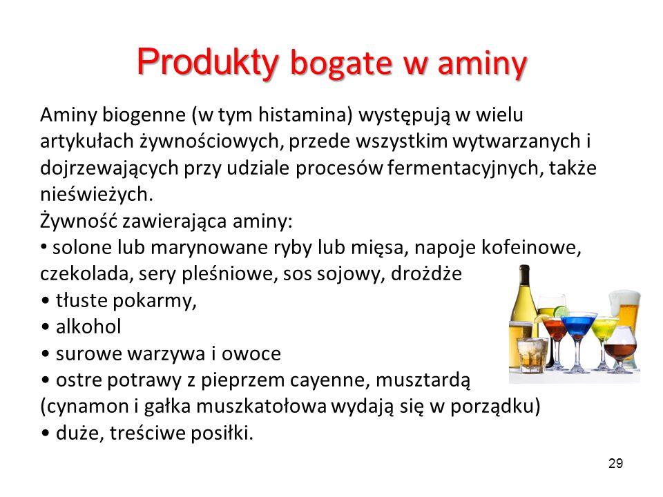 Produkty bogate w aminy Aminy biogenne (w tym histamina) występują w wielu artykułach żywnościowych, przede wszystkim wytwarzanych i dojrzewających pr