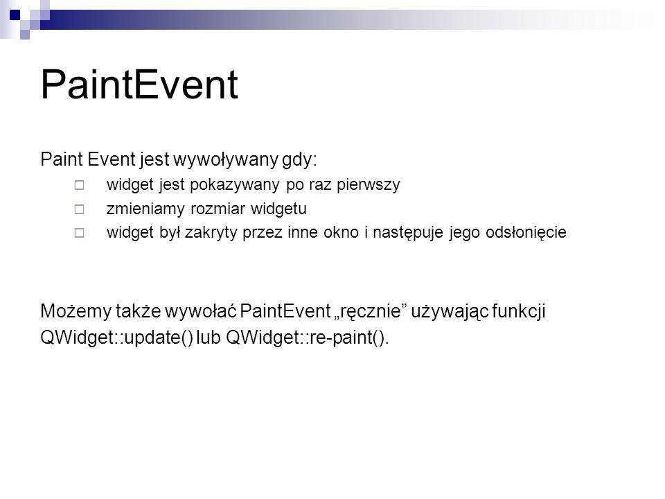 PaintEvent Paint Event jest wywoływany gdy: widget jest pokazywany po raz pierwszy zmieniamy rozmiar widgetu widget był zakryty przez inne okno i następuje jego odsłonięcie Możemy także wywołać PaintEvent ręcznie używając funkcji QWidget::update() lub QWidget::re-paint().