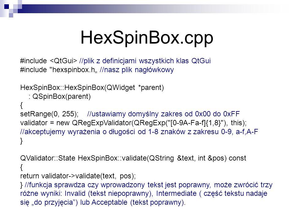 HexSpinBox.cpp #include //plik z definicjami wszystkich klas QtGui #include hexspinbox.h //nasz plik nagłówkowy HexSpinBox::HexSpinBox(QWidget *parent) : QSpinBox(parent) { setRange(0, 255); //ustawiamy domyślny zakres od 0x00 do 0xFF validator = new QRegExpValidator(QRegExp( [0-9A-Fa-f]{1,8} ), this); //akceptujemy wyrażenia o długości od 1-8 znaków z zakresu 0-9, a-f,A-F } QValidator::State HexSpinBox::validate(QString &text, int &pos) const { return validator->validate(text, pos); } //funkcja sprawdza czy wprowadzony tekst jest poprawny, może zwrócić trzy różne wyniki: Invalid (tekst niepoprawny), Intermediate ( część tekstu nadaje się do przyjęcia) lub Acceptable (tekst poprawny).