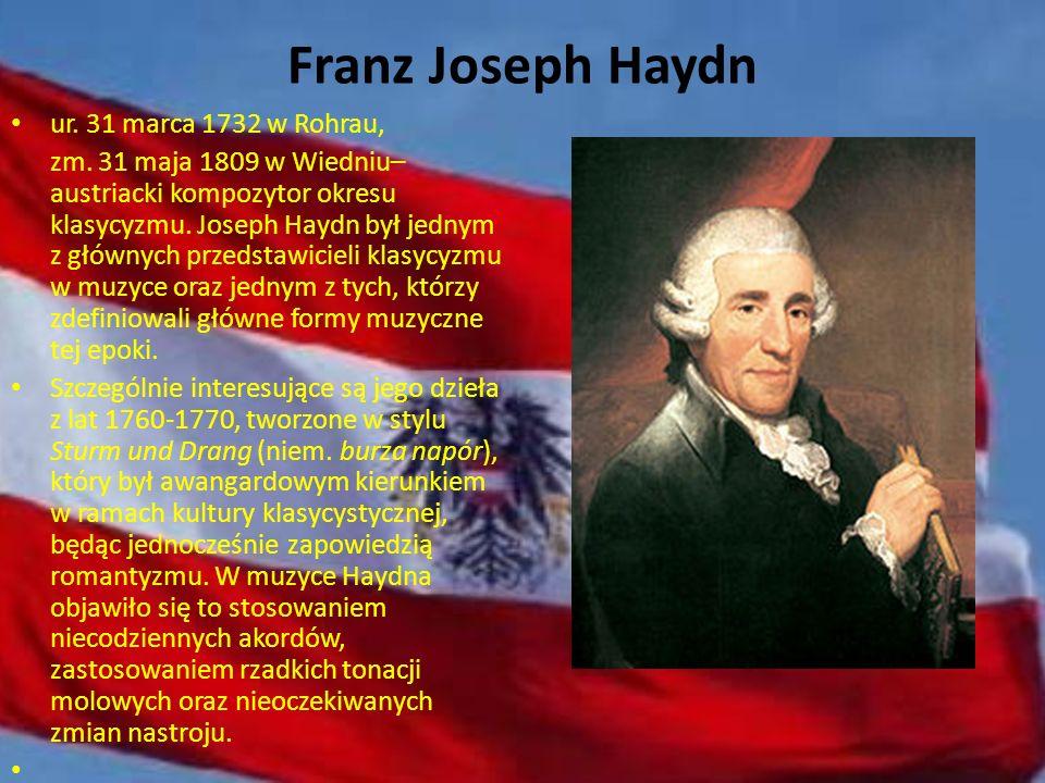 Wolfgang Amadeusz Mozart Ur. 27 stycznia 1756 w Salzburgu, zm. 5 grudnia 1791 w Wiedniu – austriacki kompozytor i muzyk. Mimo iż Mozart żył tylko 35 l