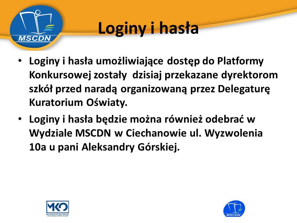 Loginy i hasła Loginy i hasła umożliwiające dostęp do Platformy Konkursowej zostały dzisiaj przekazane dyrektorom szkół przed naradą organizowaną prze