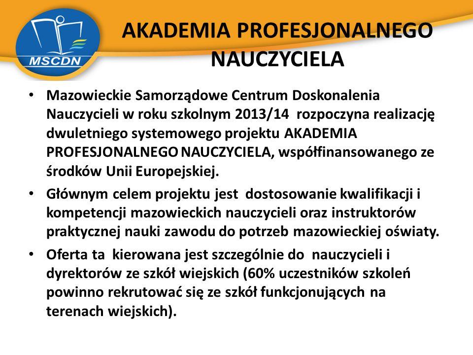 AKADEMIA PROFESJONALNEGO NAUCZYCIELA Mazowieckie Samorządowe Centrum Doskonalenia Nauczycieli w roku szkolnym 2013/14 rozpoczyna realizację dwuletnieg