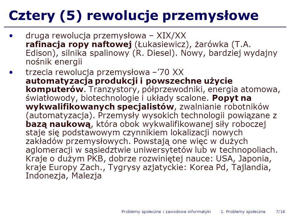 Problemy społeczne i zawodowe informatyki 1. Problemy społeczne 7/16 Cztery (5) rewolucje przemysłowe druga rewolucja przemysłowa – XIX/XX rafinacja r